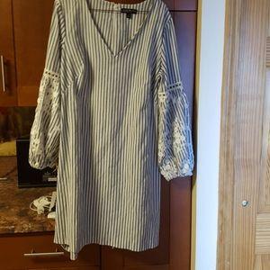 Lauren blue and white striped v-neck cotton dress